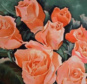 Rex Metcalfe - detail orange roses